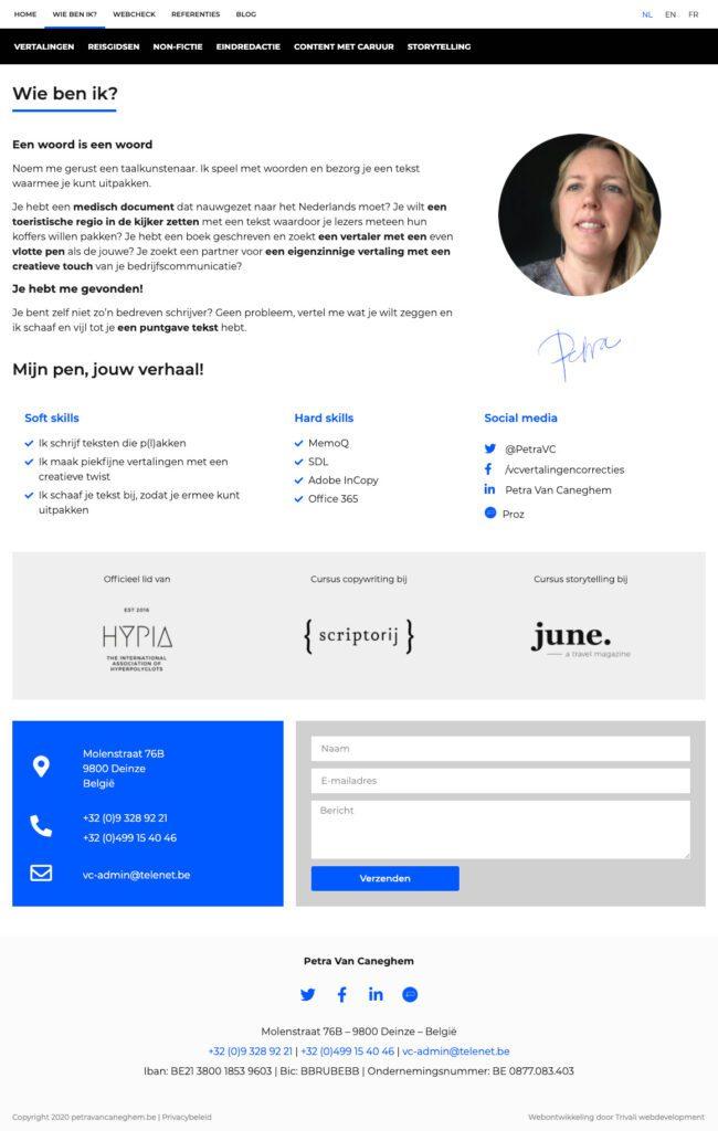 Inspirerende meertalige website met persoonlijke touch voor Petra Van Caneghem